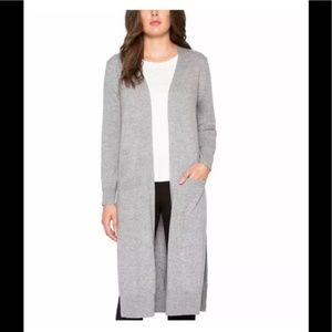 Matty M Open Front Duster Knee Length Cardigan, L